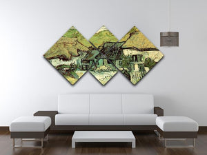 Thatched Cottages in Jorgus by Van Gogh 4 Square Multi Panel Canvas - Canvas Art Rocks - 3