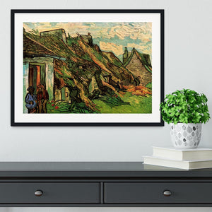 Thatched Sandstone Cottages in Chaponval by Van Gogh Framed Print - Canvas Art Rocks - 1