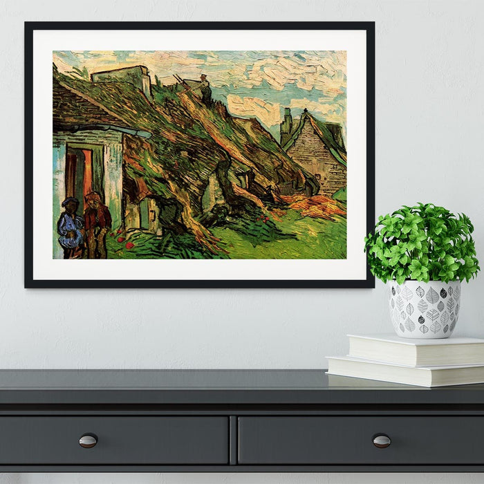 Thatched Sandstone Cottages in Chaponval by Van Gogh Framed Print