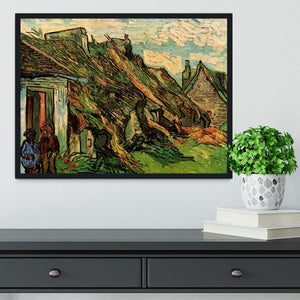 Thatched Sandstone Cottages in Chaponval by Van Gogh Framed Print - Canvas Art Rocks - 2