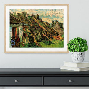Thatched Sandstone Cottages in Chaponval by Van Gogh Framed Print - Canvas Art Rocks - 3