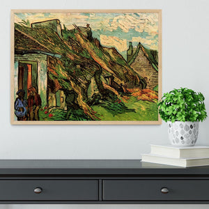 Thatched Sandstone Cottages in Chaponval by Van Gogh Framed Print - Canvas Art Rocks - 4