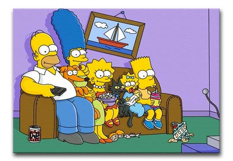 The Simpsons Watching TV Print - Canvas Art Rocks