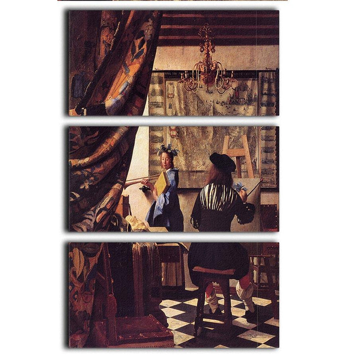The Allegory of Painting by Vermeer 3 Split Panel Canvas Print