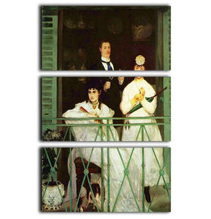 The Balcony by Manet 3 Split Panel Canvas Print - Canvas Art Rocks - 1