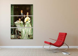 The Balcony by Manet 3 Split Panel Canvas Print - Canvas Art Rocks - 2