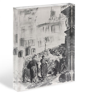 The Barricade by Manet Acrylic Block - Canvas Art Rocks - 1