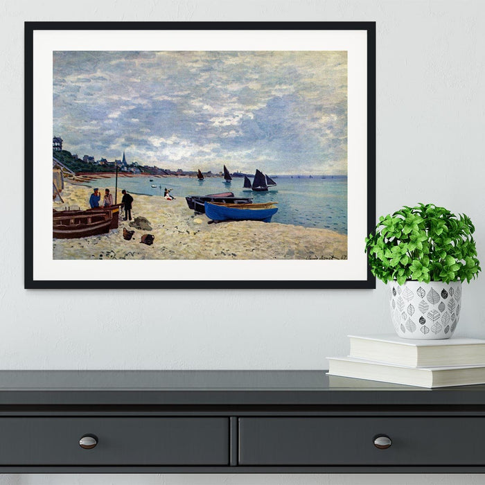 The Beach at Sainte Adresse 2 by Monet Framed Print
