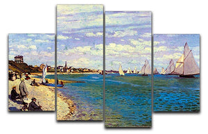 The Beach at Sainte Adresse by Monet 4 Split Panel Canvas  - Canvas Art Rocks - 1