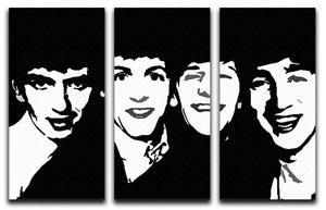 The Beatles Close Up 3 Split Panel Canvas Print - Canvas Art Rocks - 1