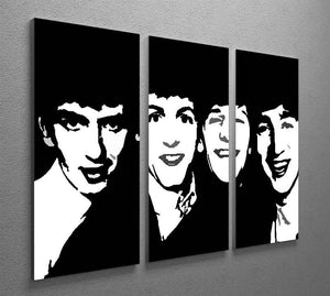 The Beatles Close Up 3 Split Panel Canvas Print - Canvas Art Rocks - 2