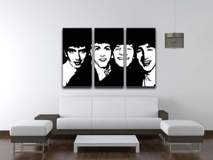 The Beatles Close Up 3 Split Panel Canvas Print - Canvas Art Rocks - 3