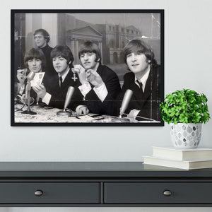 The Beatles at a press conference with their MBEs Framed Print - Canvas Art Rocks - 2