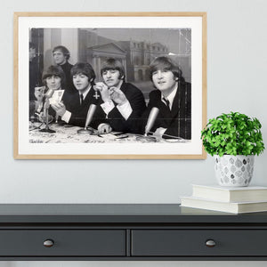 The Beatles at a press conference with their MBEs Framed Print - Canvas Art Rocks - 3