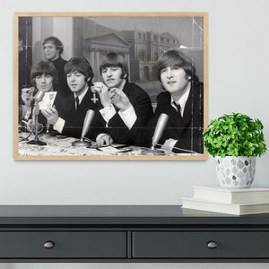 The Beatles at a press conference with their MBEs Framed Print - Canvas Art Rocks - 4