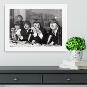 The Beatles at a press conference with their MBEs Framed Print - Canvas Art Rocks - 5