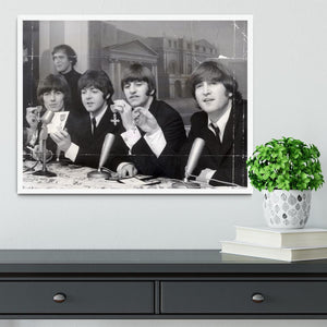 The Beatles at a press conference with their MBEs Framed Print - Canvas Art Rocks -6