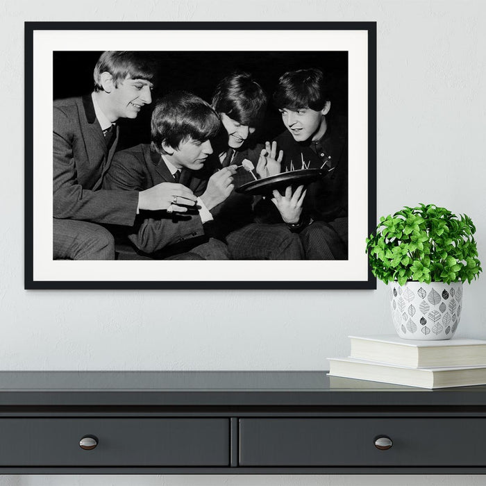 The Beatles before going on stage Framed Print