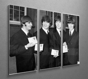 The Beatles show their MBEs 3 Split Panel Canvas Print - Canvas Art Rocks - 2