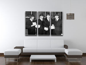 The Beatles show their MBEs 3 Split Panel Canvas Print - Canvas Art Rocks - 3