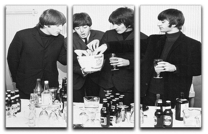 The Beatles with bottles of beer 3 Split Panel Canvas Print