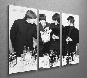 The Beatles with bottles of beer 3 Split Panel Canvas Print - Canvas Art Rocks - 2