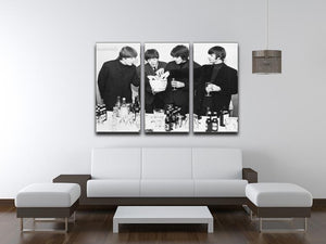 The Beatles with bottles of beer 3 Split Panel Canvas Print - Canvas Art Rocks - 3