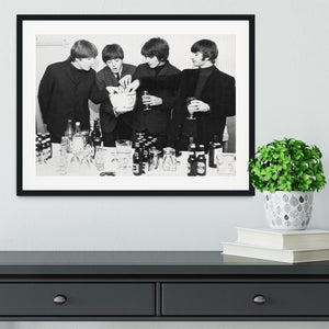 The Beatles with bottles of beer Framed Print - Canvas Art Rocks - 1