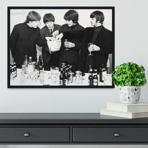 The Beatles with bottles of beer Framed Print - Canvas Art Rocks - 2