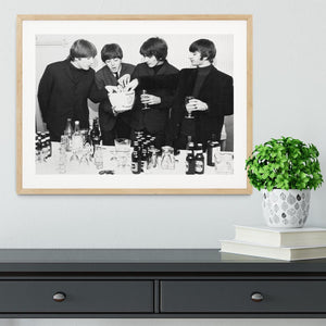 The Beatles with bottles of beer Framed Print - Canvas Art Rocks - 3