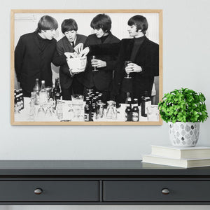 The Beatles with bottles of beer Framed Print - Canvas Art Rocks - 4
