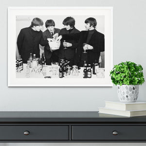 The Beatles with bottles of beer Framed Print - Canvas Art Rocks - 5