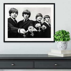 The Beatles with their MBEs Framed Print - Canvas Art Rocks - 1