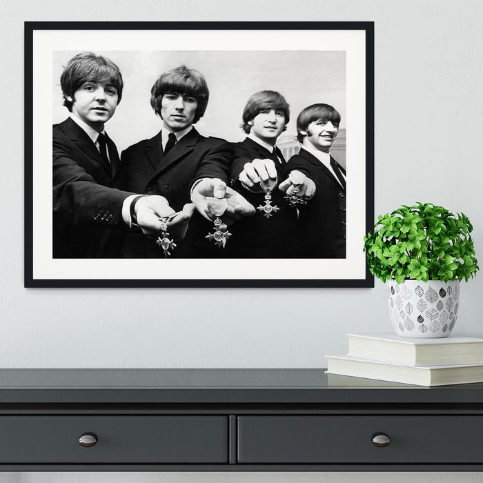 The Beatles with their MBEs Framed Print