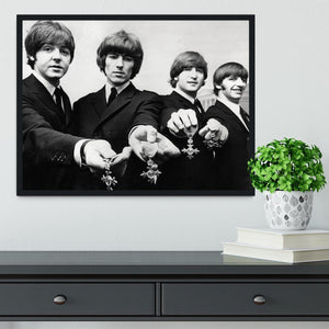 The Beatles with their MBEs Framed Print - Canvas Art Rocks - 2