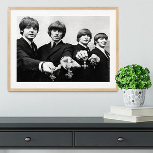 The Beatles with their MBEs Framed Print - Canvas Art Rocks - 3