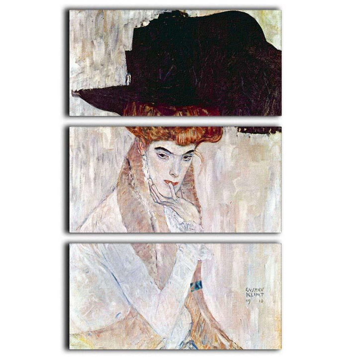 The Black Hat by Klimt 3 Split Panel Canvas Print