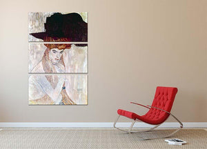 The Black Hat by Klimt 3 Split Panel Canvas Print - Canvas Art Rocks - 2
