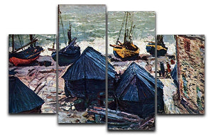 The Boats by Monet 4 Split Panel Canvas  - Canvas Art Rocks - 1