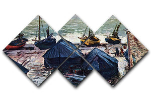 The Boats by Monet 4 Square Multi Panel Canvas  - Canvas Art Rocks - 1