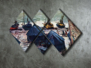 The Boats by Monet 4 Square Multi Panel Canvas - Canvas Art Rocks - 2