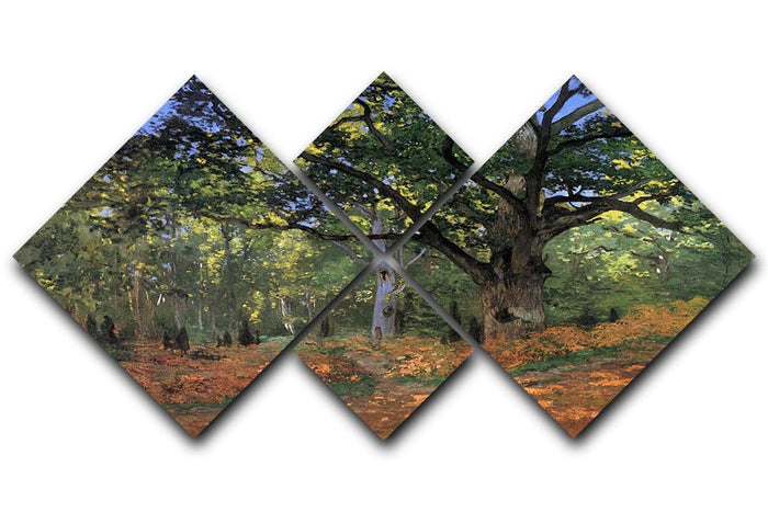 The Bodmer oak Fontainbleau forest by Monet 4 Square Multi Panel Canvas