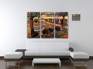 The Courtyard of the Hospital at Arles by Van Gogh 3 Split Panel Canvas Print - Canvas Art Rocks - 4