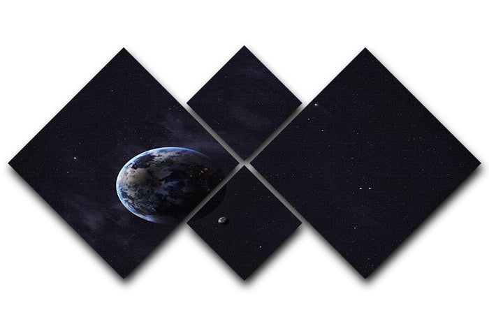 The Earth from space showing all they beauty 4 Square Multi Panel Canvas