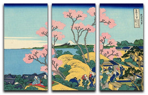 The Fuji from Gotenyama by Hokusai 3 Split Panel Canvas Print - Canvas Art Rocks - 1