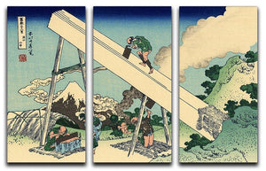The Fuji from the mountains of Totomi by Hokusai 3 Split Panel Canvas Print - Canvas Art Rocks - 1