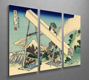 The Fuji from the mountains of Totomi by Hokusai 3 Split Panel Canvas Print - Canvas Art Rocks - 2