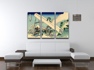 The Fuji from the mountains of Totomi by Hokusai 3 Split Panel Canvas Print - Canvas Art Rocks - 3