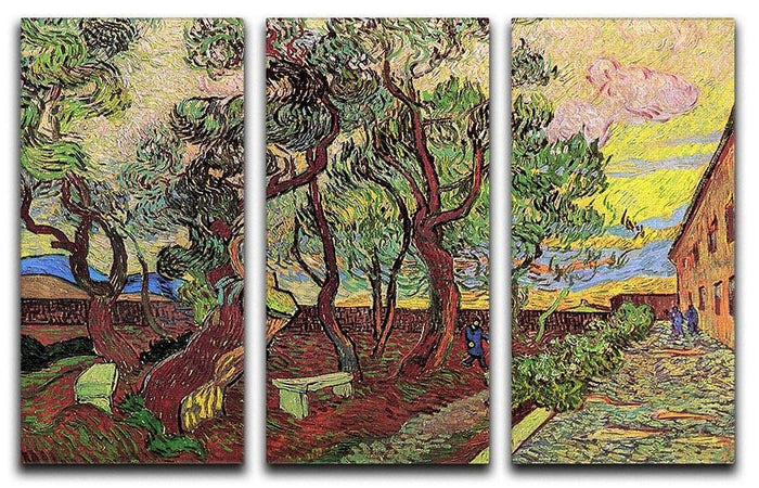 The Garden of Saint-Paul Hospital 3 by Van Gogh 3 Split Panel Canvas Print