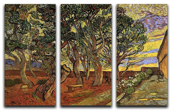 The Garden of Saint-Paul Hospital 4 by Van Gogh 3 Split Panel Canvas Print